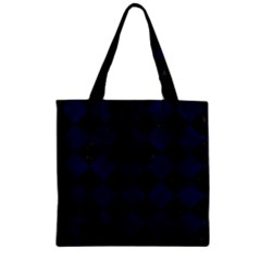 Square2 Black Marble & Blue Grunge Zipper Grocery Tote Bag by trendistuff