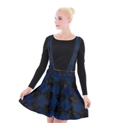 Square2 Black Marble & Blue Grunge Suspender Skater Skirt by trendistuff
