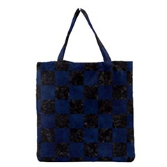 Square1 Black Marble & Blue Grunge Grocery Tote Bag by trendistuff