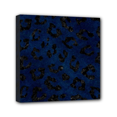 Skin5 Black Marble & Blue Grunge Mini Canvas 6  X 6  (stretched) by trendistuff