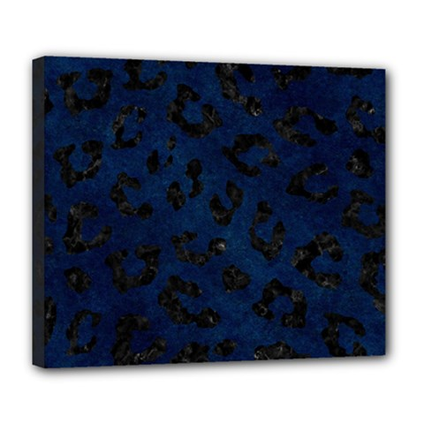 Skin5 Black Marble & Blue Grunge Deluxe Canvas 24  X 20  (stretched)