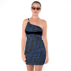 Skin3 Black Marble & Blue Grunge (r) One Shoulder Ring Trim Bodycon Dress