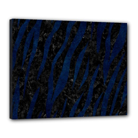 Skin3 Black Marble & Blue Grunge Canvas 20  X 16  (stretched) by trendistuff
