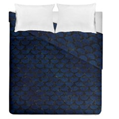 Scales3 Black Marble & Blue Grunge (r) Duvet Cover Double Side (queen Size) by trendistuff