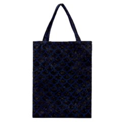 Scales1 Black Marble & Blue Grunge Classic Tote Bag by trendistuff