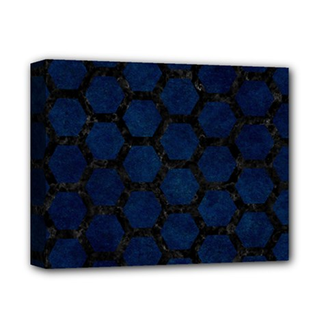 Hexagon2 Black Marble & Blue Grunge (r) Deluxe Canvas 14  X 11  (stretched) by trendistuff