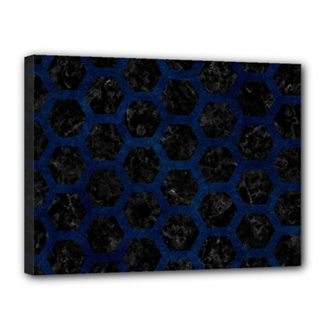 Hexagon2 Black Marble & Blue Grunge Canvas 16  X 12  (stretched) by trendistuff