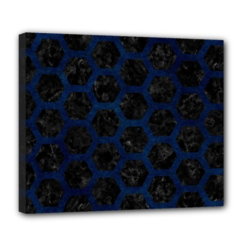 Hexagon2 Black Marble & Blue Grunge Deluxe Canvas 24  X 20  (stretched) by trendistuff