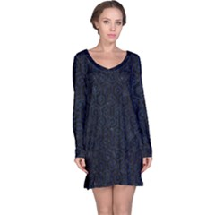 Hexagon1 Black Marble & Blue Grunge Long Sleeve Nightdress by trendistuff