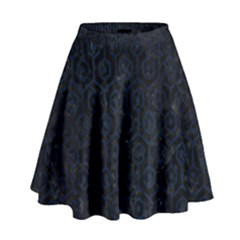 Hexagon1 Black Marble & Blue Grunge High Waist Skirt by trendistuff