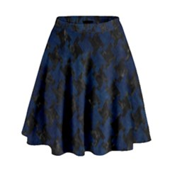 Houndstooth2 Black Marble & Blue Grunge High Waist Skirt by trendistuff