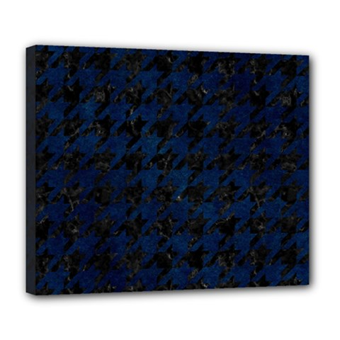 Houndstooth1 Black Marble & Blue Grunge Deluxe Canvas 24  X 20  (stretched) by trendistuff