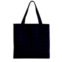 Houndstooth1 Black Marble & Blue Grunge Zipper Grocery Tote Bag by trendistuff