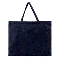 Damask2 Black Marble & Blue Grunge Zipper Large Tote Bag by trendistuff