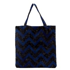 Chevron9 Black Marble & Blue Grunge Grocery Tote Bag by trendistuff