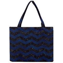 Chevron3 Black Marble & Blue Grunge Mini Tote Bag by trendistuff