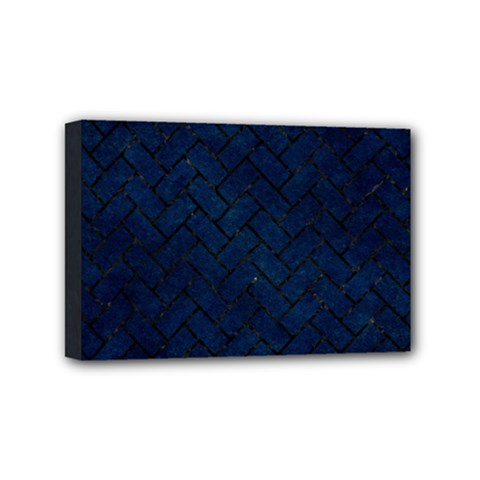 Brick2 Black Marble & Blue Grunge (r) Mini Canvas 6  X 4  (stretched) by trendistuff