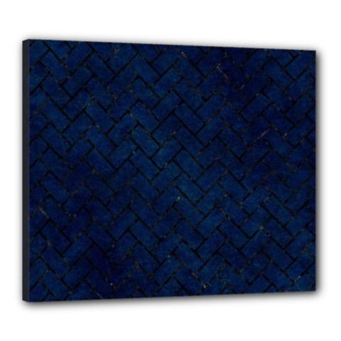 Brick2 Black Marble & Blue Grunge (r) Canvas 24  X 20  (stretched) by trendistuff