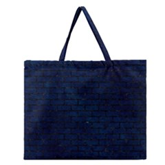 Brick1 Black Marble & Blue Grunge (r) Zipper Large Tote Bag by trendistuff