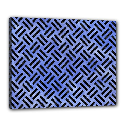 Woven2 Black Marble & Blue Watercolor (r) Canvas 20  X 16  (stretched) by trendistuff