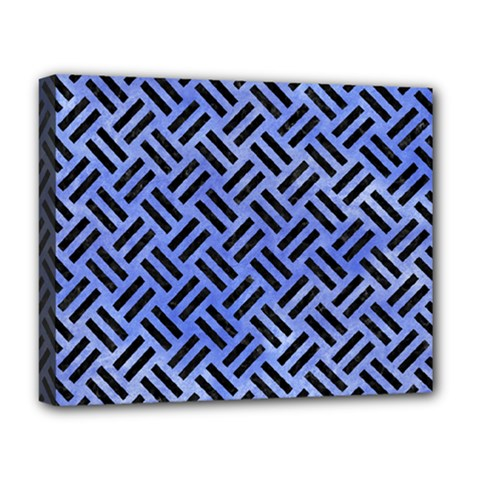 Woven2 Black Marble & Blue Watercolor (r) Deluxe Canvas 20  X 16  (stretched) by trendistuff