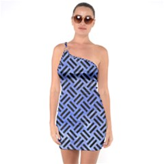 Woven2 Black Marble & Blue Watercolor (r) One Shoulder Ring Trim Bodycon Dress