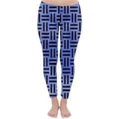 Woven1 Black Marble & Blue Watercolor (r) Classic Winter Leggings by trendistuff