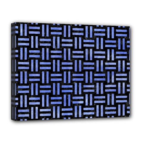 Woven1 Black Marble & Blue Watercolor Canvas 14  X 11  (stretched) by trendistuff