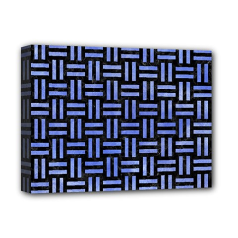 Woven1 Black Marble & Blue Watercolor Deluxe Canvas 16  X 12  (stretched)  by trendistuff