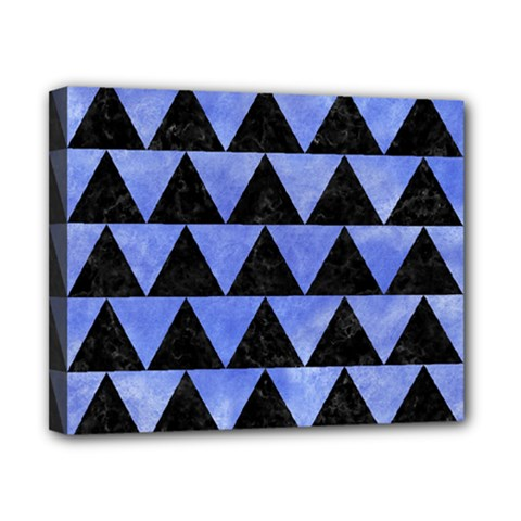 Triangle2 Black Marble & Blue Watercolor Canvas 10  X 8  (stretched) by trendistuff
