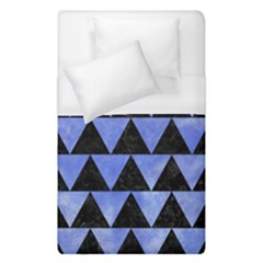 Triangle2 Black Marble & Blue Watercolor Duvet Cover (single Size)