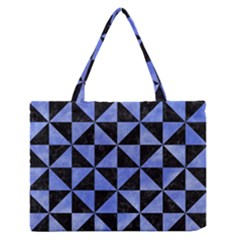 Triangle1 Black Marble & Blue Watercolor Medium Zipper Tote Bag by trendistuff