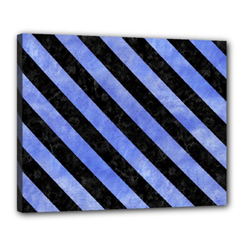 Stripes3 Black Marble & Blue Watercolor (r) Canvas 20  X 16  (stretched) by trendistuff