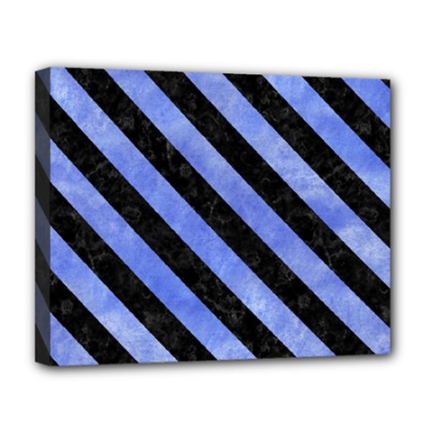 Stripes3 Black Marble & Blue Watercolor (r) Deluxe Canvas 20  X 16  (stretched) by trendistuff