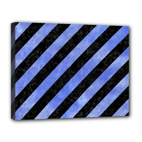 Stripes3 Black Marble & Blue Watercolor Canvas 14  X 11  (stretched) by trendistuff
