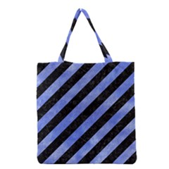 Stripes3 Black Marble & Blue Watercolor Grocery Tote Bag by trendistuff