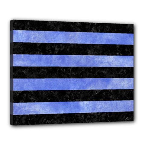 Stripes2 Black Marble & Blue Watercolor Canvas 20  X 16  (stretched) by trendistuff