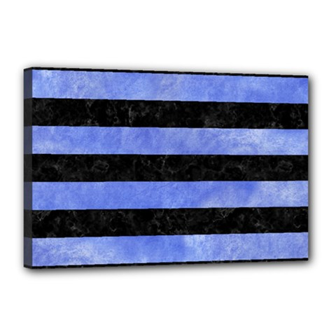 Stripes2 Black Marble & Blue Watercolor Canvas 18  X 12  (stretched) by trendistuff