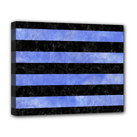 Stripes2 Black Marble & Blue Watercolor Deluxe Canvas 20  X 16  (stretched) by trendistuff
