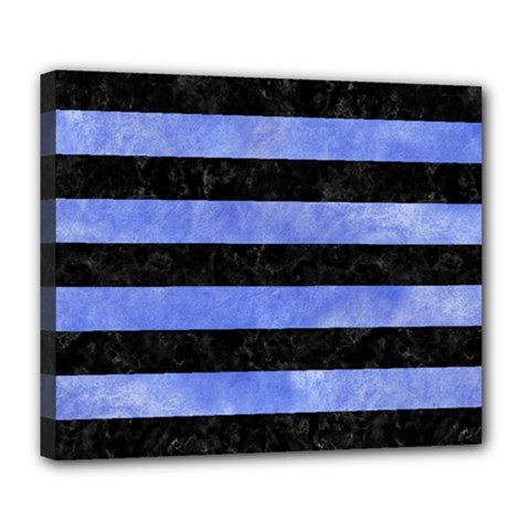 Stripes2 Black Marble & Blue Watercolor Deluxe Canvas 24  X 20  (stretched) by trendistuff