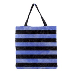 Stripes2 Black Marble & Blue Watercolor Grocery Tote Bag