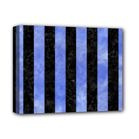 Stripes1 Black Marble & Blue Watercolor Deluxe Canvas 14  X 11  (stretched) by trendistuff