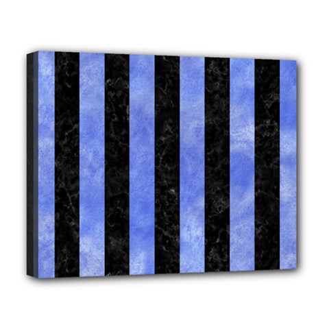 Stripes1 Black Marble & Blue Watercolor Deluxe Canvas 20  X 16  (stretched) by trendistuff