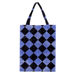 Square2 Black Marble & Blue Watercolor Classic Tote Bag