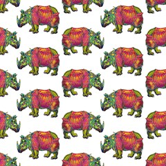 Rhino Walk White By Paysmage Fabric by PAYSMAGE