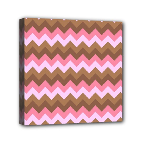 Shades Of Pink And Brown Retro Zigzag Chevron Pattern Mini Canvas 6  X 6  by Nexatart