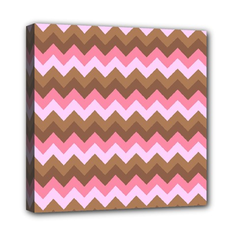 Shades Of Pink And Brown Retro Zigzag Chevron Pattern Mini Canvas 8  X 8  by Nexatart