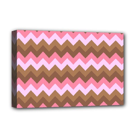 Shades Of Pink And Brown Retro Zigzag Chevron Pattern Deluxe Canvas 18  X 12