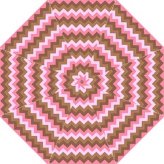 Shades Of Pink And Brown Retro Zigzag Chevron Pattern Hook Handle Umbrellas (large) by Nexatart
