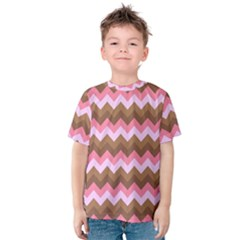 Shades Of Pink And Brown Retro Zigzag Chevron Pattern Kids  Cotton Tee